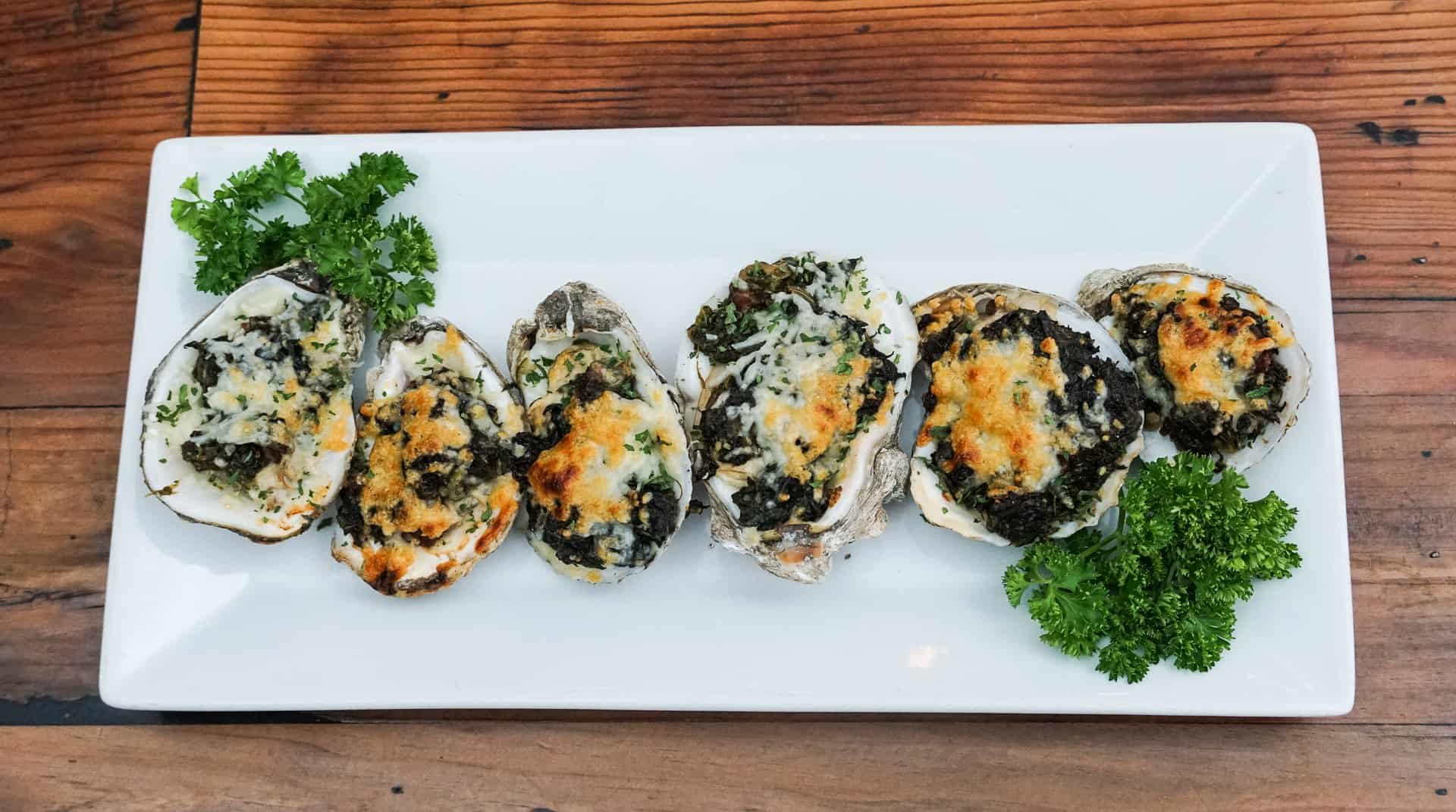 Top shot of Oyster Rockefeller
